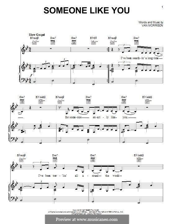 Someone Like You: For voice and piano (or guitar) by Van Morrison