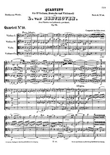 String Quartet No.10 in E Flat Major 'Harp', Op.74: Full score by Ludwig van Beethoven