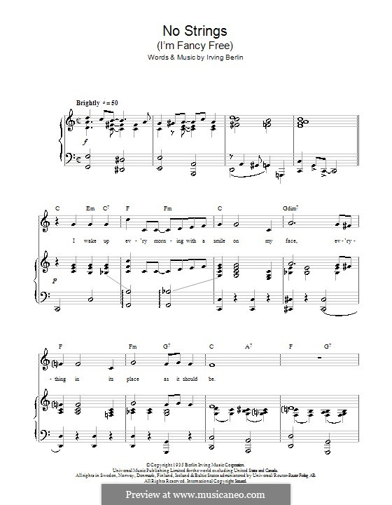 No Strings (I'm Fancy Free): For voice and piano or guitar (Top Hat Cast) by Irving Berlin