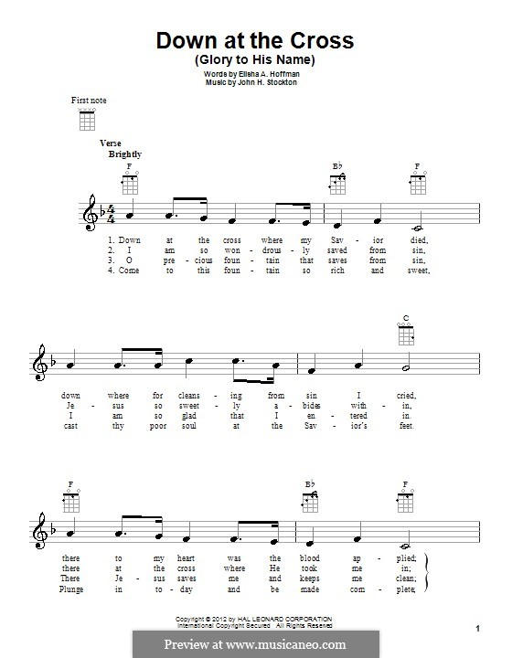 Down at the Cross (Glory to His Name): For ukulele by John H. Stockton