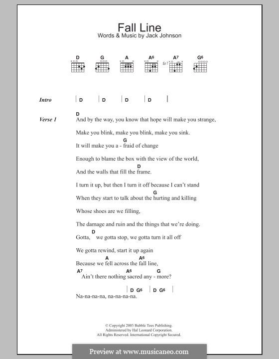 Fall Line: Lead sheet by Jack Johnson