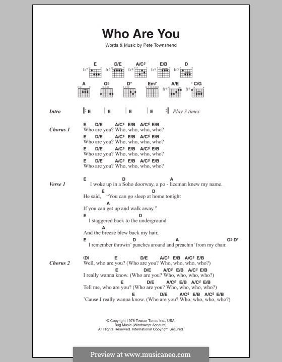 Who Are You? (The Who): Lead sheet by Peter Townshend