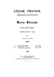 Three Chorales: Chorale No.1 in E Major, for piano four hands, FWV 38 by César Franck