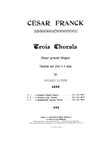 Three Chorales: Chorale No.3 in A Minor, for piano four hands, FWV 40 by César Franck