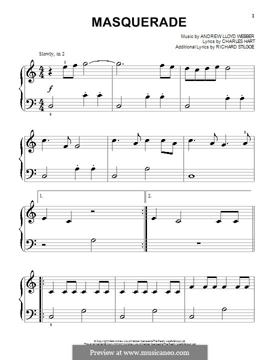 Masquerade: For piano by Andrew Lloyd Webber