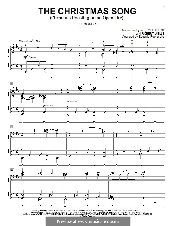 The Christmas Song (Chestnuts Roasting on an Open Fire), for Piano: Version for piano four hands by Mel Tormé, Robert Wells