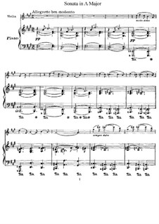 Sonata for Violin and Piano in A Major, M.8 FWV 8: Score and part by César Franck