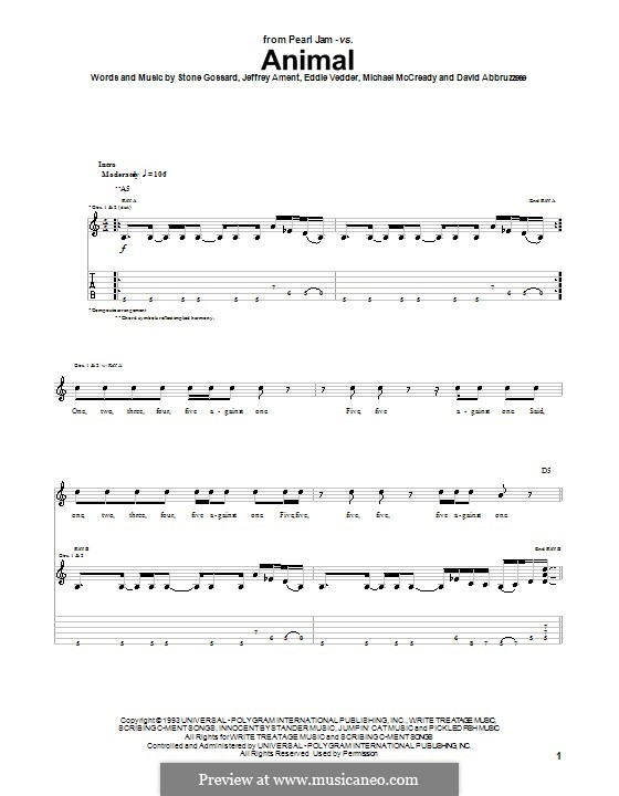 Animal (Pearl Jam): For guitar with tab by David Abbruzzese, Eddie Vedder, Jeff Ament, Mike McCready, Stone Gossard