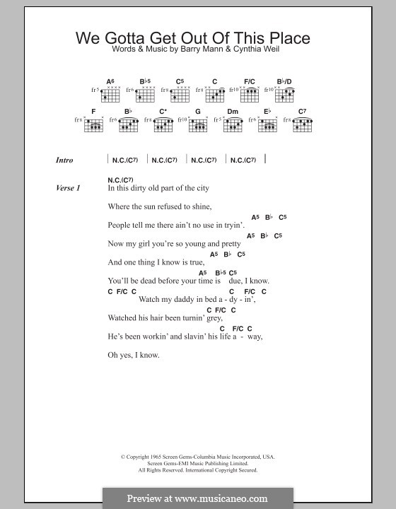 We Gotta Get Out of This Place (The Animals): Lead sheet by Barry Mann, Cynthia Weil
