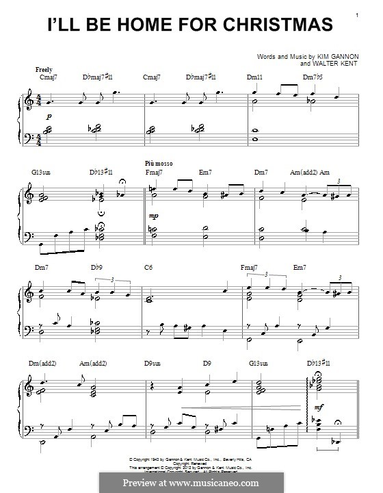 I'll Be Home for Christmas: For piano (with chords) by Kim Gannon, Walter Kent