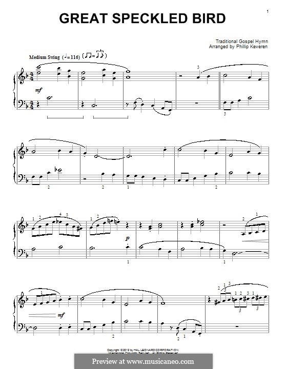 Great Speckled Bird: For piano by folklore