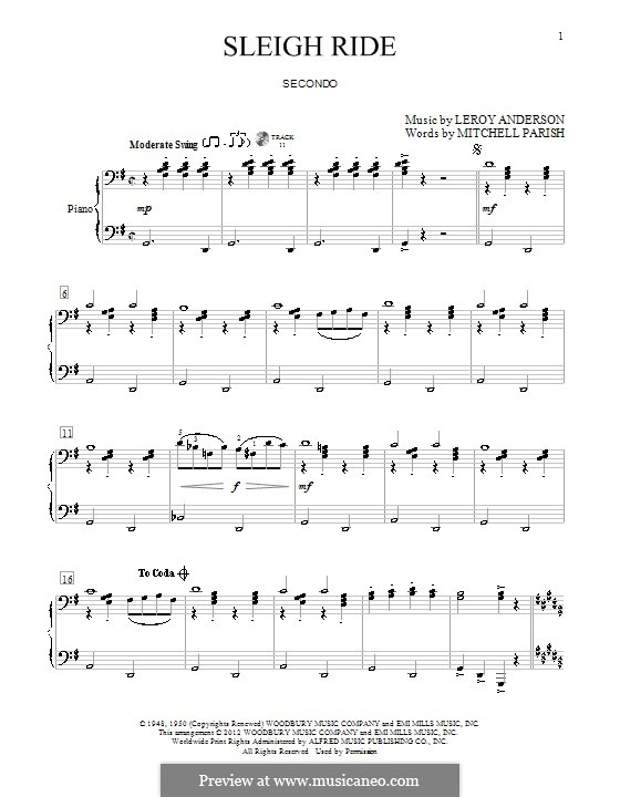 Sleigh Ride: For piano four hands by Leroy Anderson