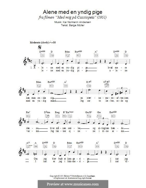 Alene Med En Yndig Pige: Lead sheet by Kai Normann Andersen