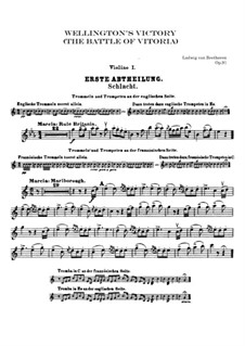Wellington's Victory, or the Battle of Vitoria, Op.91: Violin I part by Ludwig van Beethoven