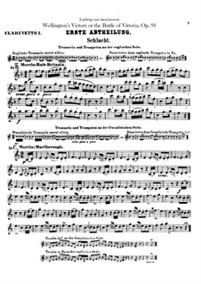 Wellington's Victory, or the Battle of Vitoria, Op.91: Clarinets I, II parts by Ludwig van Beethoven