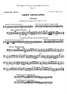 Wellington's Victory, or the Battle of Vitoria, Op.91: Cello and double bass part by Ludwig van Beethoven