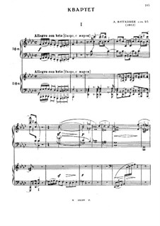 String Quartet No.11 in F Minor 'Serioso', Op.95: Version for two pianos four hands by Ludwig van Beethoven