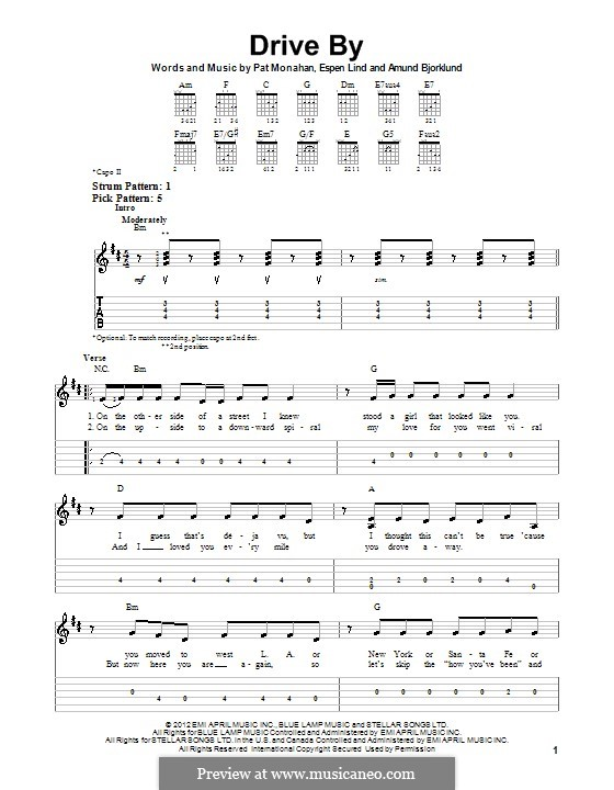Drive By (Train): For guitar with tab by Amund Bjorklund, Espen Lind, Patrick Monahan