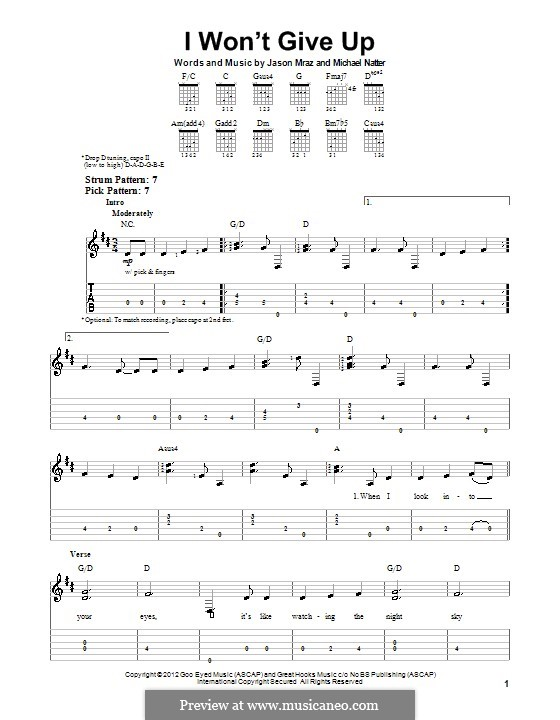 I Won't Give Up: For guitar with tab by Jason Mraz, Michael Natter