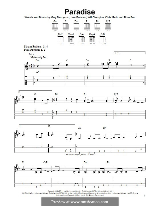 Paradise (Coldplay): Guitar tab by Brian Eno, Chris Martin, Guy Berryman, Jonny Buckland, Will Champion
