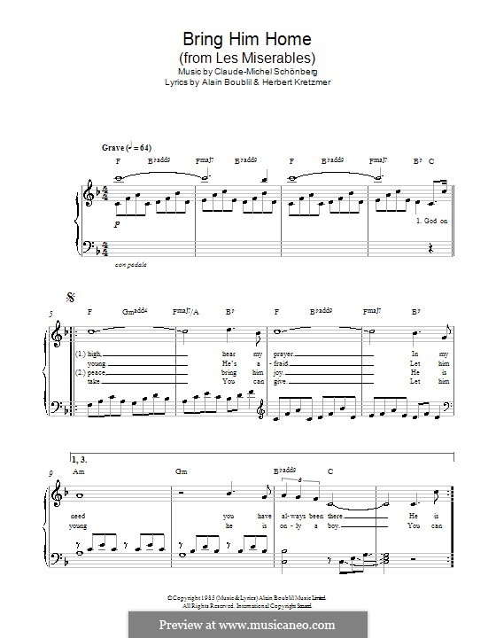 Bring Him Home: For piano by Claude-Michel Schönberg