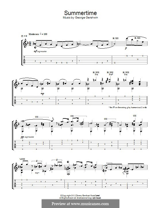 Summertime: For guitar with tab (Jerry Willard) by George Gershwin