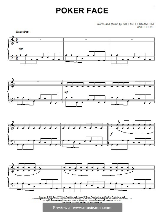 Poker Face (Lady Gaga): For piano (Glee Cast) by RedOne, Stefani Germanotta