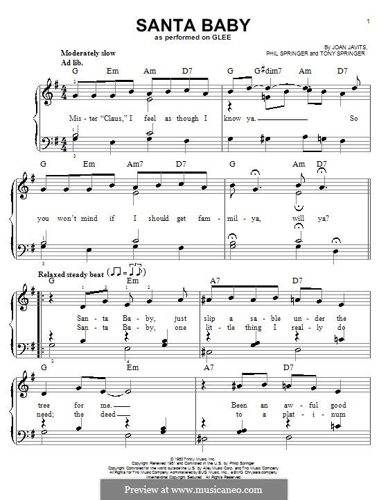 Santa Baby (Eartha Kitt): For voice and piano or guitar (Glee Cast) by Joan Javits, Philip Springer, Tony Springer