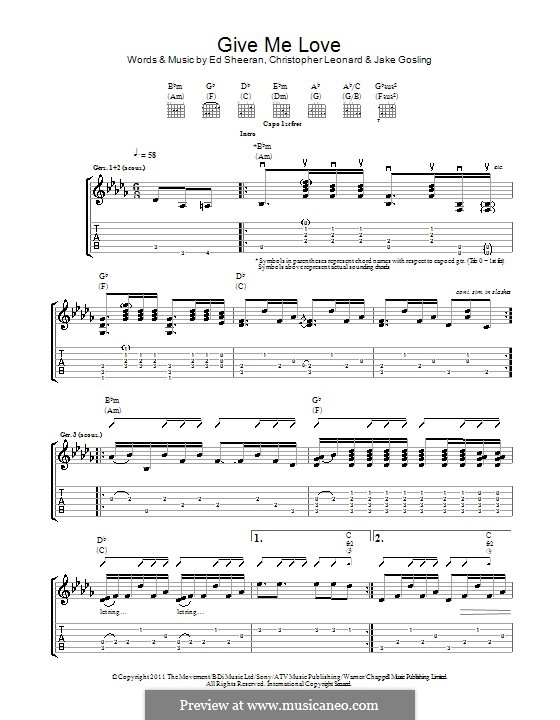 Give Me Love: For guitar with tab by Ed Sheeran, Christopher Leonard, Jake Gosling