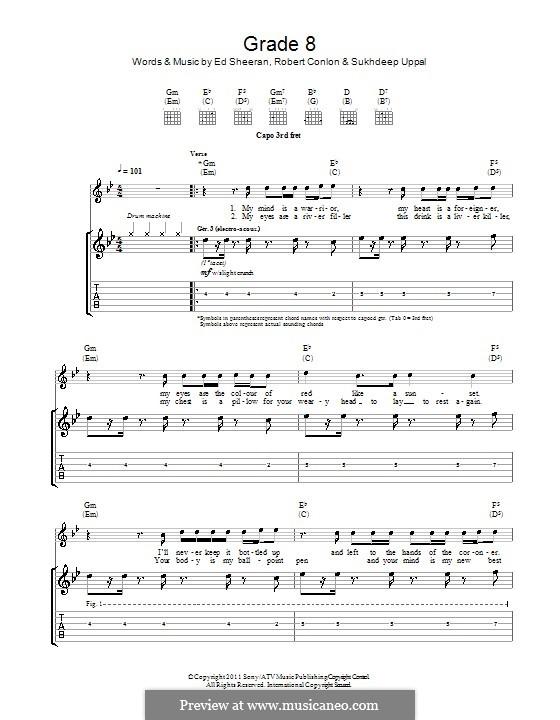 Grade 8: For guitar with tab by Ed Sheeran, Robert Conlon, Sukhdeep Uppal