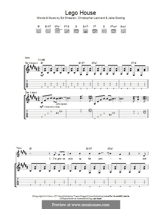 Lego House: For guitar with tab by Ed Sheeran, Christopher Leonard, Jake Gosling