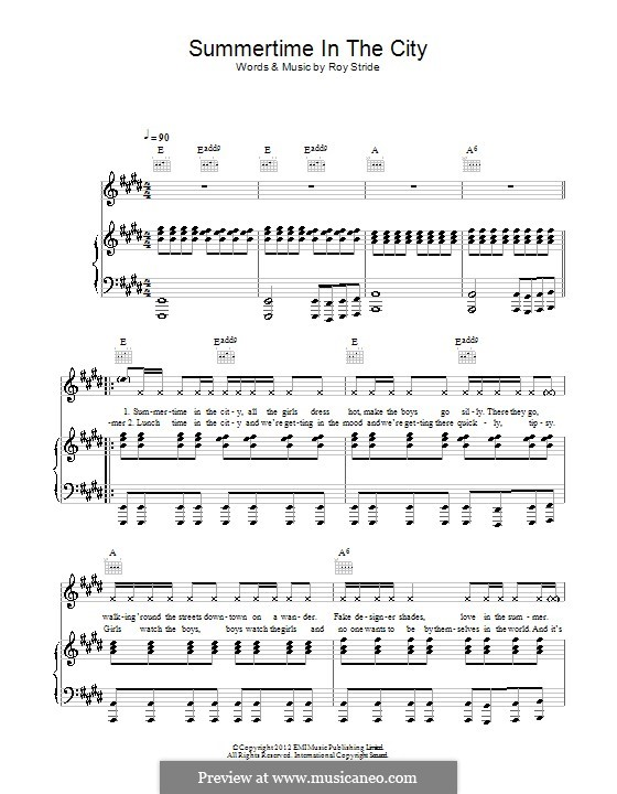 Summertime in the City (Scouting for Girls): For voice and piano (or guitar) by Roy Stride