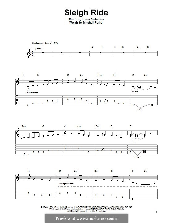 Sleigh Ride: For guitar with tab by Leroy Anderson