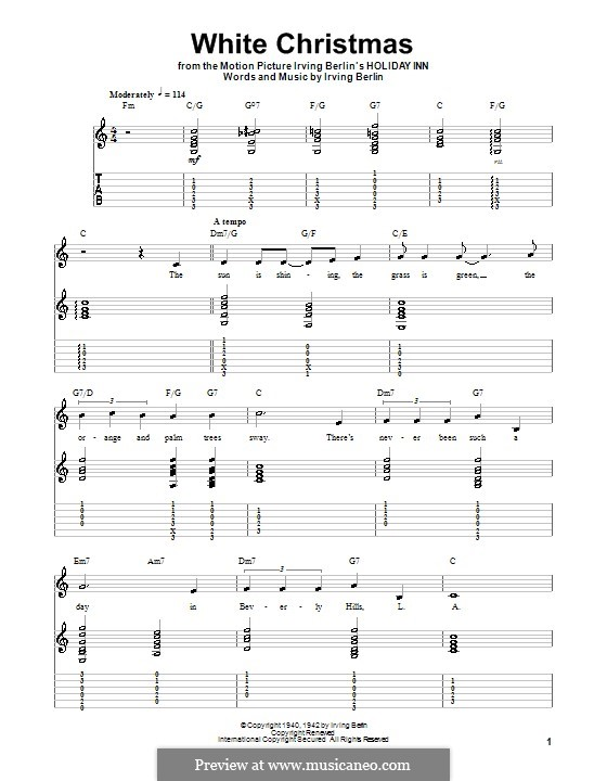 White Christmas. Instrumental version: For guitar with tab by Irving Berlin