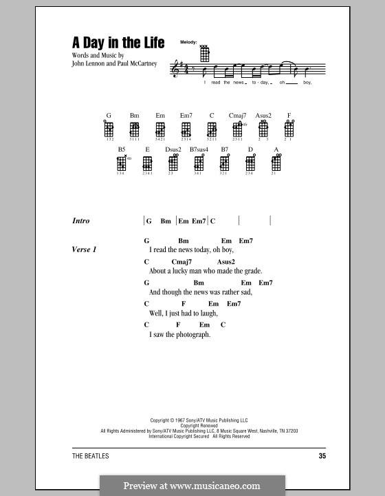 A Day in the Life (The Beatles): For ukulele by John Lennon, Paul McCartney