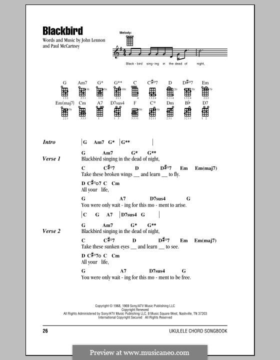 Blackbird (The Beatles): For ukulele by John Lennon, Paul McCartney