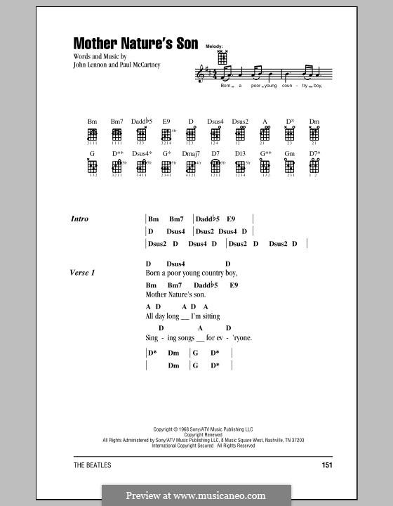 Mother Nature's Son (The Beatles): For ukulele by John Lennon, Paul McCartney