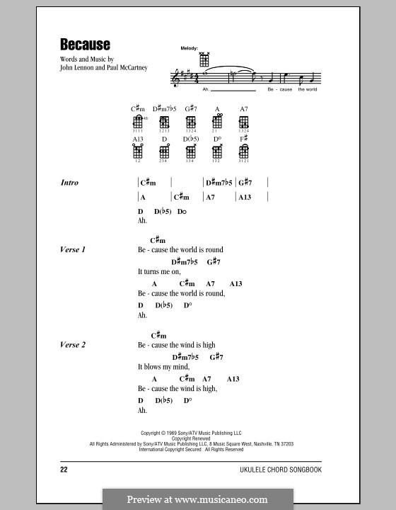 Because (The Beatles): For ukulele by John Lennon, Paul McCartney