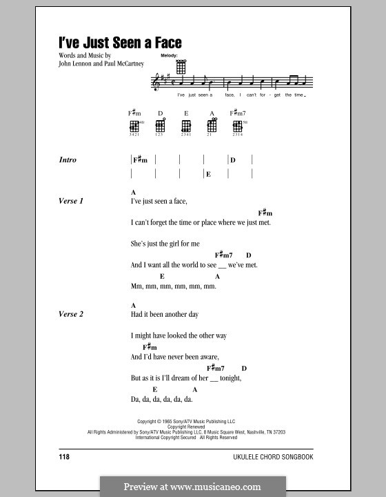 I've Just Seen a Face (The Beatles): For ukulele by John Lennon, Paul McCartney
