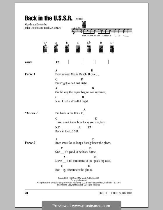 Back in the USSR (The Beatles): For ukulele by John Lennon, Paul McCartney