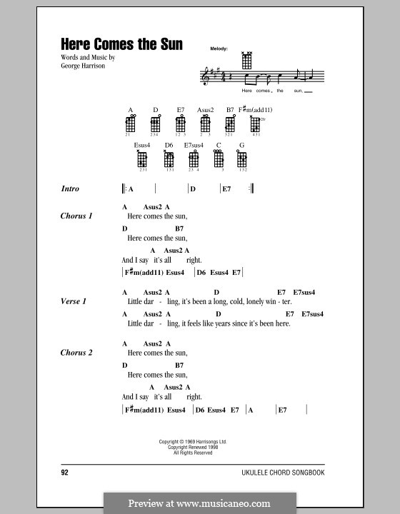 Ukulele ukulele chords here comes the sun : Here Comes the Sun (The Beatles) by G. Harrison - sheet music on ...