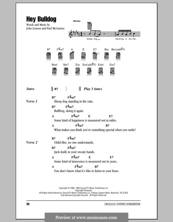 Hey Bulldog (The Beatles): For ukulele by John Lennon, Paul McCartney