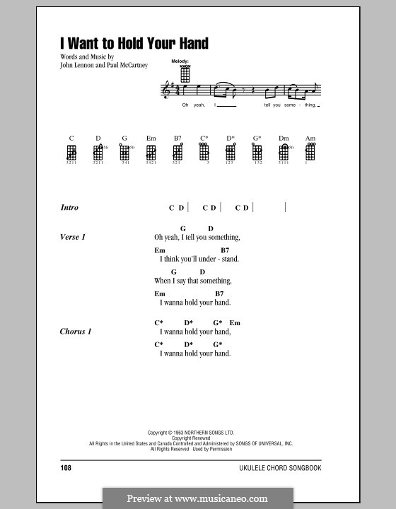 I Want to Hold Your Hand (The Beatles): For ukulele by John Lennon, Paul McCartney