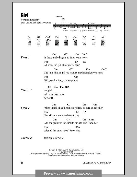 Girl (The Beatles): For ukulele by John Lennon, Paul McCartney