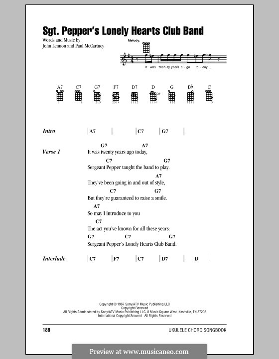 Sgt. Pepper's Lonely Hearts Club Band (The Beatles): For ukulele by John Lennon, Paul McCartney
