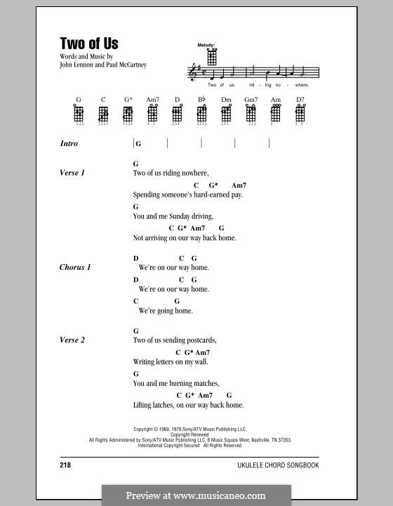 Two of Us (The Beatles): For ukulele by John Lennon, Paul McCartney