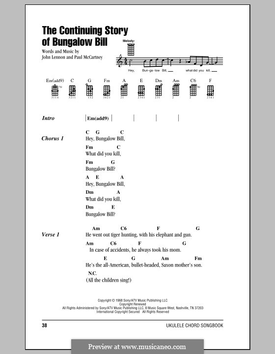 The Continuing Story of Bungalow Bill (The Beatles): For ukulele by John Lennon, Paul McCartney