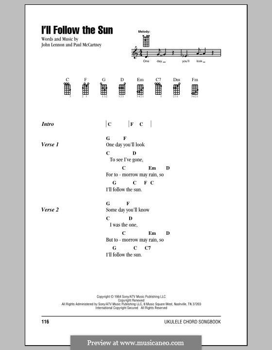 I'll Follow the Sun (The Beatles): For ukulele by John Lennon, Paul McCartney
