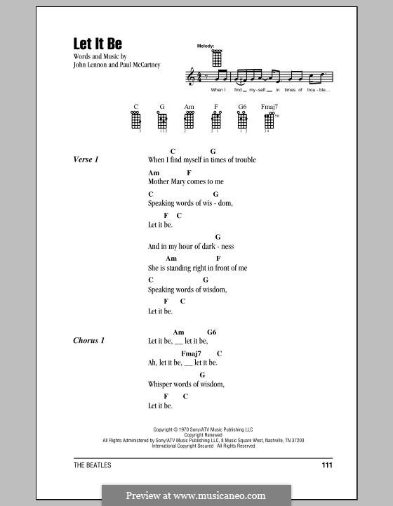 Let it Be (The Beatles): For ukulele by John Lennon, Paul McCartney