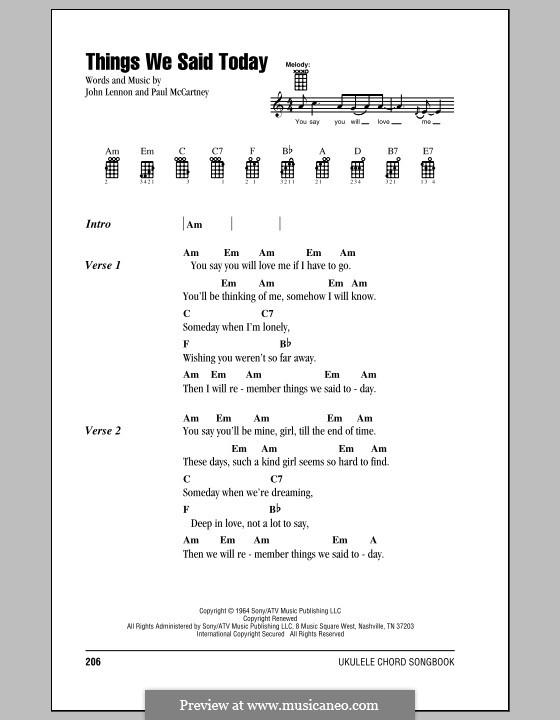 Things We Said Today (The Beatles): For ukulele by John Lennon, Paul McCartney